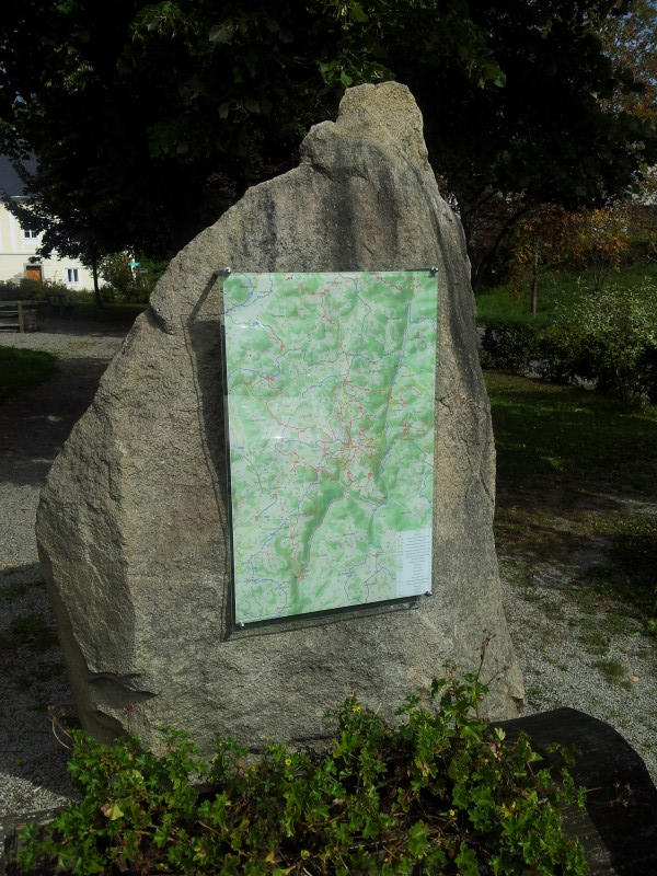 Photo of wayside panel with hiking and biking map of Gutau