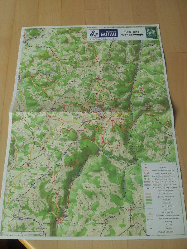 Hiking and biking map of Gutau, front page